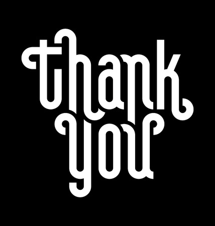 thank you note: THANK YOU lettering