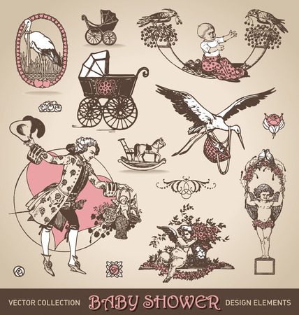 cradle: baby shower antique design elements set  vector