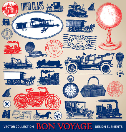 Vintage travel illustrations set  vector  Illustration