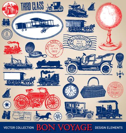 Vintage travel illustrations set  vector  Çizim