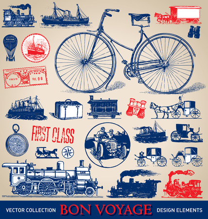 Vintage travel illustrations set  vector   イラスト・ベクター素材