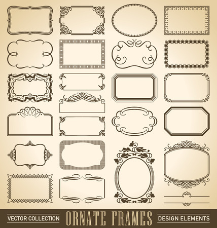 set of 24 hand-drawn frames and panels in various styles