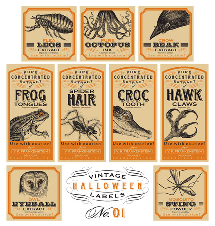 crow: Funny vintage Halloween apothecary labels - set 01 (vector) Illustration