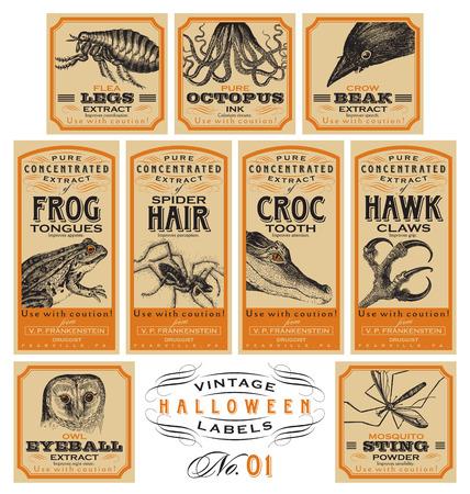 vintage etiket: Grappige vintage Halloween apotheker labels - set 01 (vector) Stock Illustratie