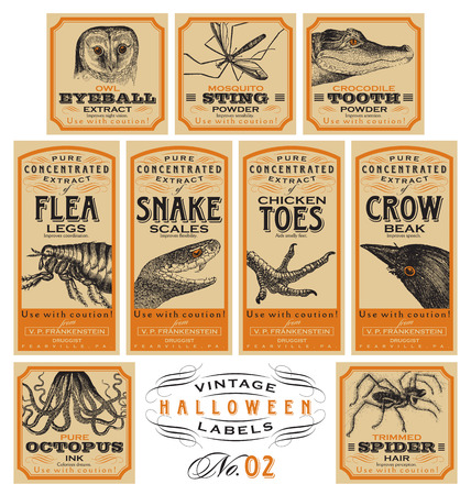 poison bottle: Funny vintage Halloween apothecary labels - set 02 (vector)