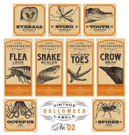 Grappige vintage Halloween apotheker labels - set 02 (vector)