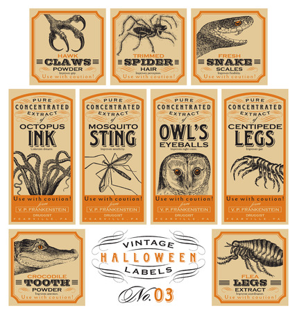Funny vintage Halloween apothecary labels - set 03 (vector)