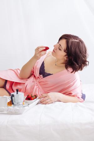caucasian girl breakfast white bed Strawberry