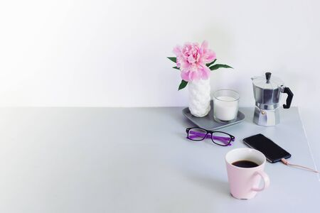 business woman back to work. coffee, phone, glasses Stock Photo