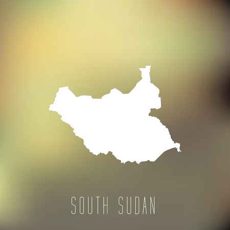south sudan: White map of South Sudan on blury background Illustration