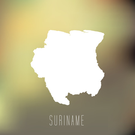 suriname: White map of Suriname on blury background