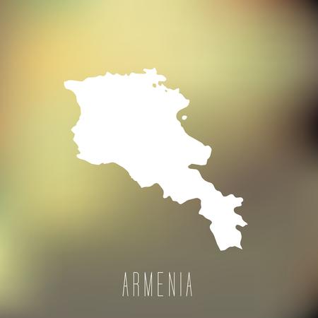 map of armenia: White map of Armenia on blury background Illustration