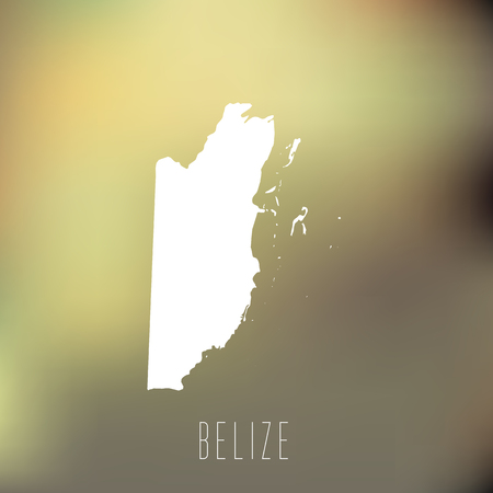 belize: White map of Belize on blury background Illustration