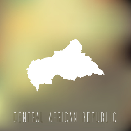 central african republic: White map of Central African Republic on blury background Illustration