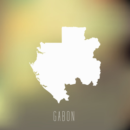 gabon: White map of Gabon on blury background