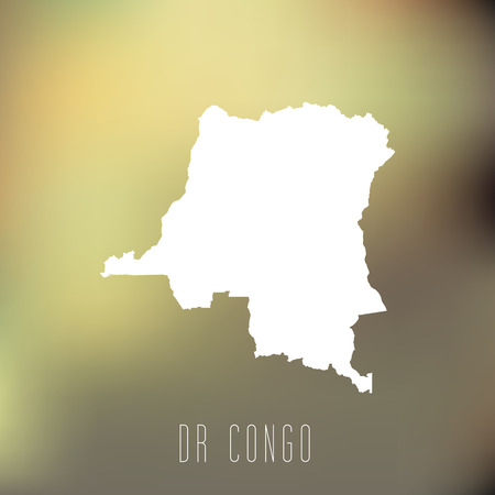 dr: White map of DR Congo on blury background