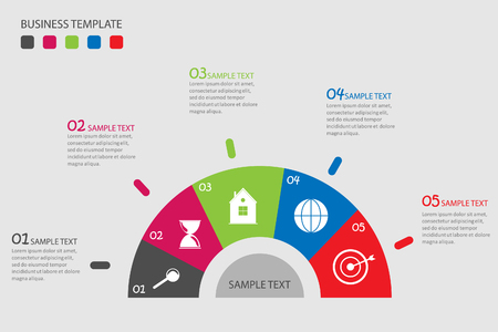 Info graphic business template, business option, idea, progress