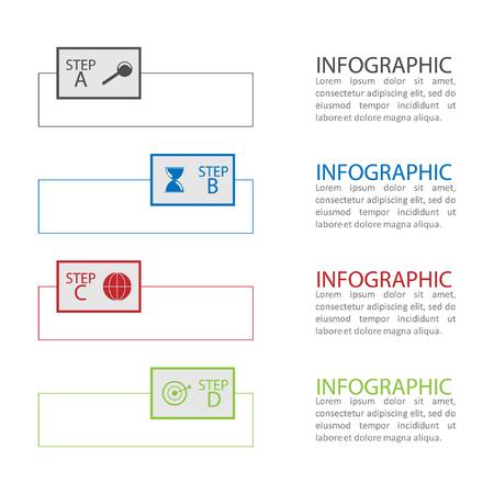 progression: Info graphic business template, business option, idea, progress.