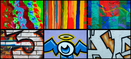 youth culture: Collage of different mural as urban art