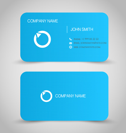 Business card set template. Blue color, round corners. Vector illustration.