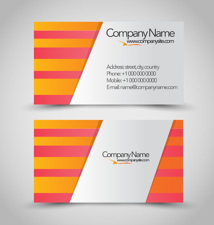 visit card: Vertical business card set template. Orange and white color. With shadow stickers. Vector illustration.