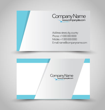 Business card set template. Blue and silver color. Vector illustration. Ilustração