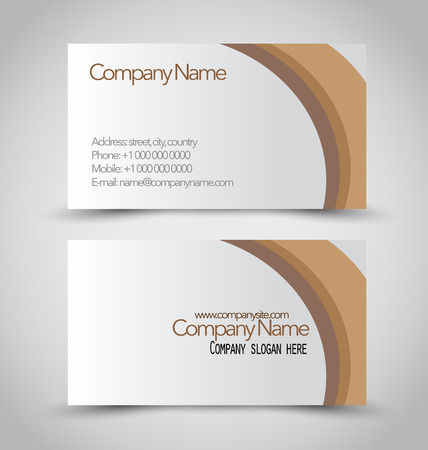 the information card: Business card set template. Brown and white color. Vector illustration.