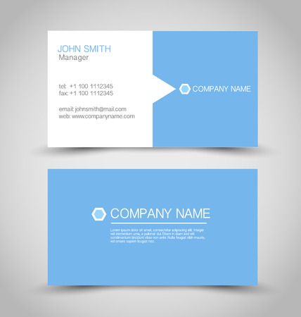 Business card set template. Blue and white color. Vector illustration.