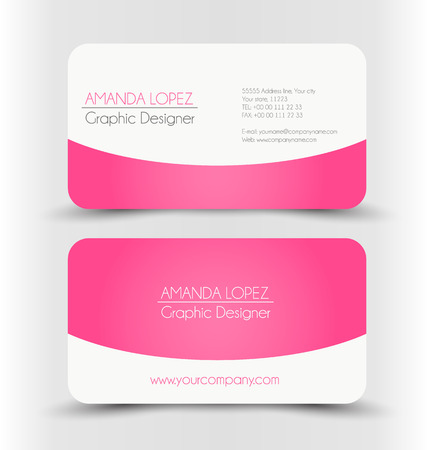 Business card design set template for company corporate style. White and pink color. Vector illustration.