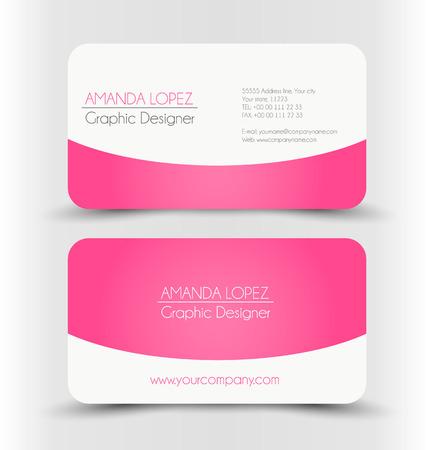 personalausweis: Visitenkarten-Design gesetzt Vorlage für Unternehmen Corporate Style. Weiß und rosa Farbe. Vektor-Illustration.