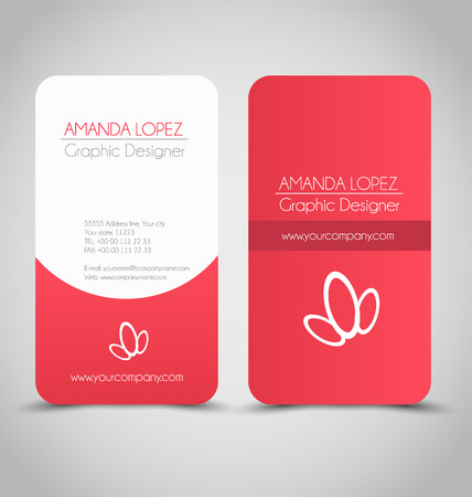 Business card design set template for company corporate style. Red and white color. Vector illustration. Stock Illustratie