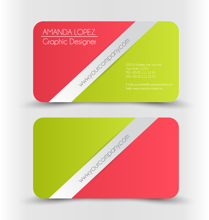 namecard: Business card design set template for company corporate style. Red and green christmas style colors. Vector illustration. Illustration