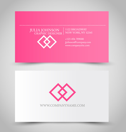 Business card design set template for company corporate style. Pink and silver color. Vector illustration. Stock Illustratie