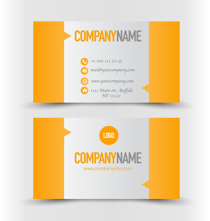 calling card: Business card design set template for company corporate style. Orange and silver color. Vector illustration. Illustration