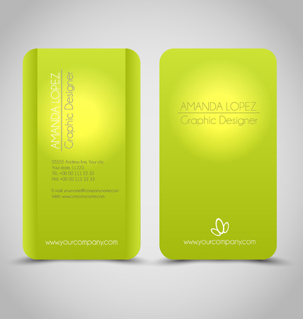 blank business card: Business card design set template for company corporate style. Green color. Vector illustration. Illustration