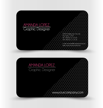 Business card design set template for company corporate style. Black color. Vector illustration. Ilustracja
