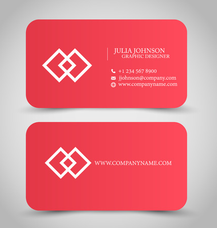 Business card design set template for company corporate style. Red color. Vector illustration.