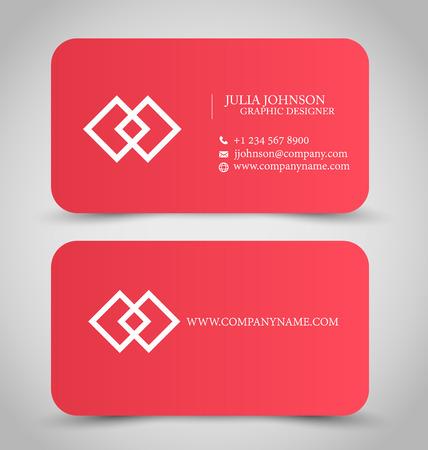 personalausweis: Visitenkarte Design-Vorlage f�r Unternehmen gesetzt Corporate Style. Farbe Rot. Vektor-Illustration. Illustration