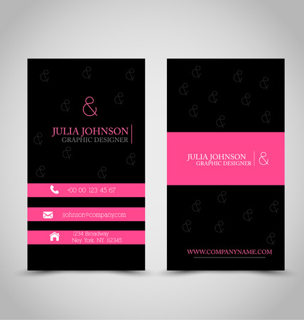 id: Business card design set template for company corporate style. Pink and black color. Vector illustration.