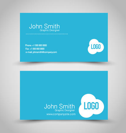 name calling: Business card design set template for company corporate style. Blue and white color. Vector illustration.