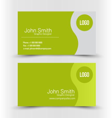 명함 디자인 회사 기업 스타일 템플릿을 설정합니다. 녹색과 실버 색상. 벡터 일러스트 레이 션. 일러스트