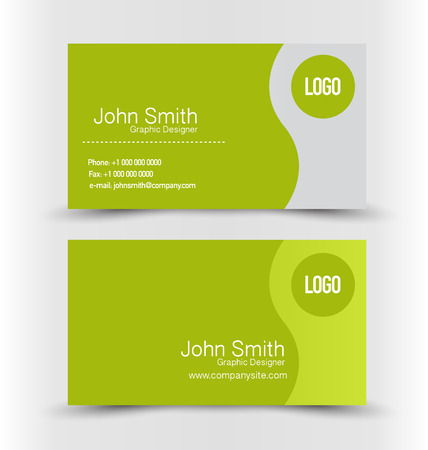 Business card design set template for company corporate style. Green and silver color. Vector illustration.