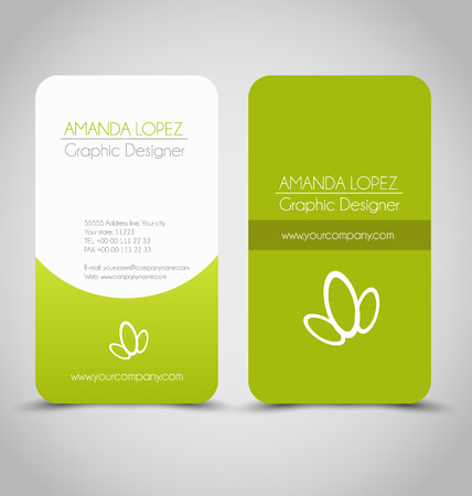 Business card set template for business identity corporate style. Green and white color. Vector illustration. Ilustração