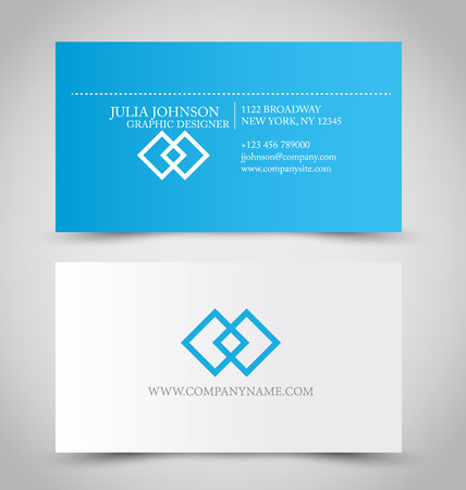 Business card set template for business identity corporate style. Blue and white color. Vector illustration. Иллюстрация
