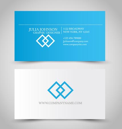 Visitekaartje set sjabloon voor zakelijke identiteit huisstijl. Blauwe en witte kleur. Vector illustratie. Stock Illustratie