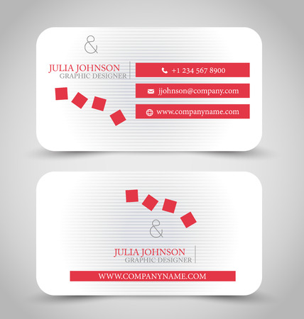 card template: Business card set template for business identity corporate style. Red and white color. Vector illustration.
