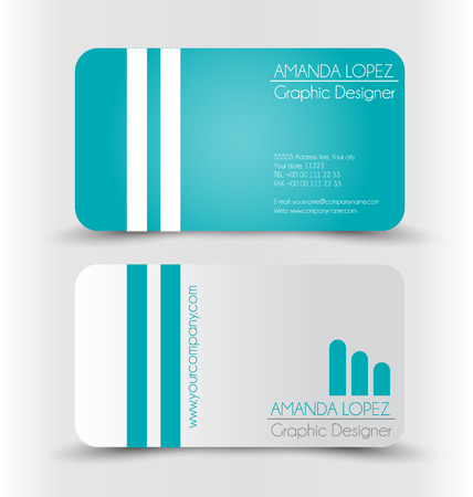 calling card: Business card set template for business identity corporate style. Green and silver color. Vector illustration.