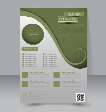Flyer template. Business brochure. Editable A4 poster for design education presentation website magazine cover. Green color.