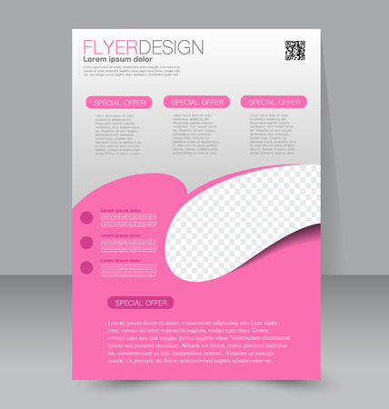 flyer: Flyer template. Business brochure. Editable A4 poster for design education presentation website magazine cover. Pink color.
