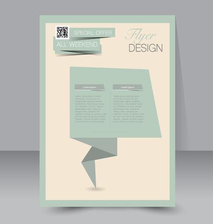 magazine design: Flyer template. Business brochure. Editable A4 poster for design education presentation website magazine cover. Retro green color. Illustration